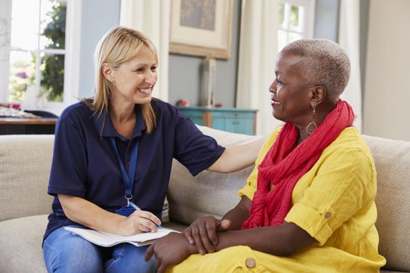 Home care in Derbyshire. domiciliary care. Care for the elderly, mentally and physically disabled. Elderly black woman.