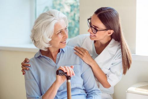 What Career Opportunities Are There for a Domiciliary Care Worker? Starting work as a domiciliary care worker will give you a great foundation if you are thinking about a long term career in care. You could study for a QCF qualification, which will allow you to become a domiciliary care manager. Alternatively, if you would like to become a care home manager, as a care work you will be able to get your first taste of the industry. Whatever you would like to do, there are a number of exciting and interest career paths that you will be able to work towards, with experience as a domiciliary care worker. Friendly elder woman.