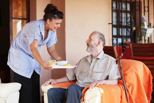 Home care in Derbyshire. domiciliary care. Care for the elderly, mentally and physically disabled. Elderly man getting food.