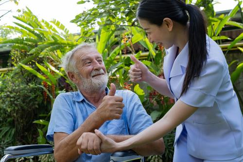 Home care in Derbyshire. domiciliary care. Care for the elderly, mentally and physically disabled. Thumbs up.